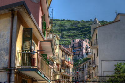 Buildings with a view of the mountain in Cinque Terre, Italy