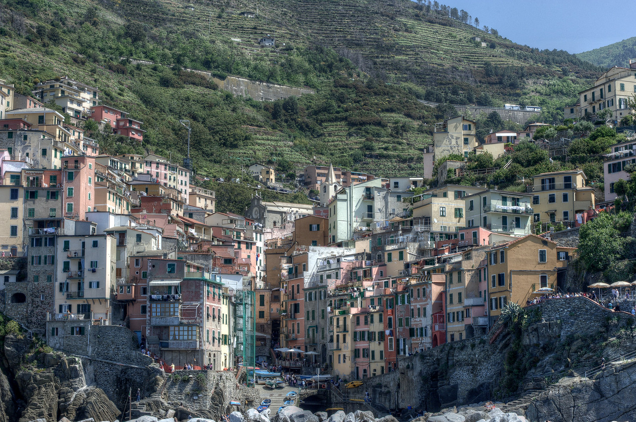 Buildings on a hill at Cinque Terre, Italy
