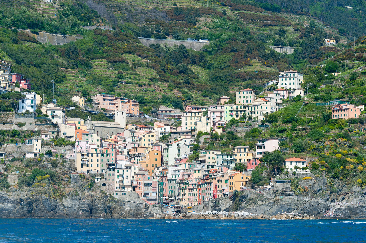 Houses and buildings on a valley in Cinque Terre, Italy
