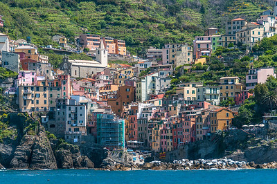 Closer shot of cliffside houses in Cinque Terre, Italy