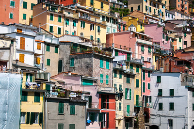 Details of cliff side houses in Cinque Terre, Italy