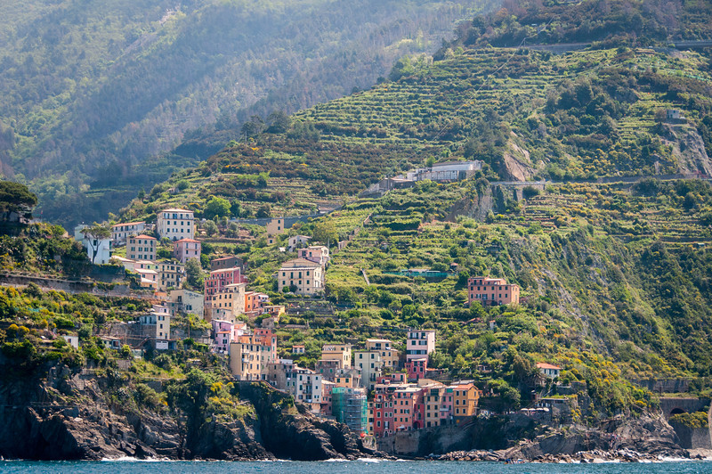Cliffside houses in a village in Cinque Terre, Italy