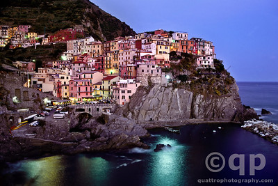 MANAROLA AT SUNSET FROM VIA DELL'AMORE