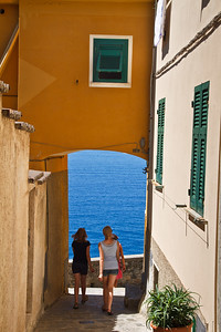 Colorful life scene at the Corniglia village.