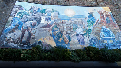 Magnificent fresco near the train station of Riomaggiore.
