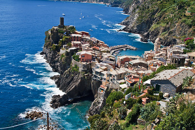 Beautiful panoramic view on the Vernazza village.