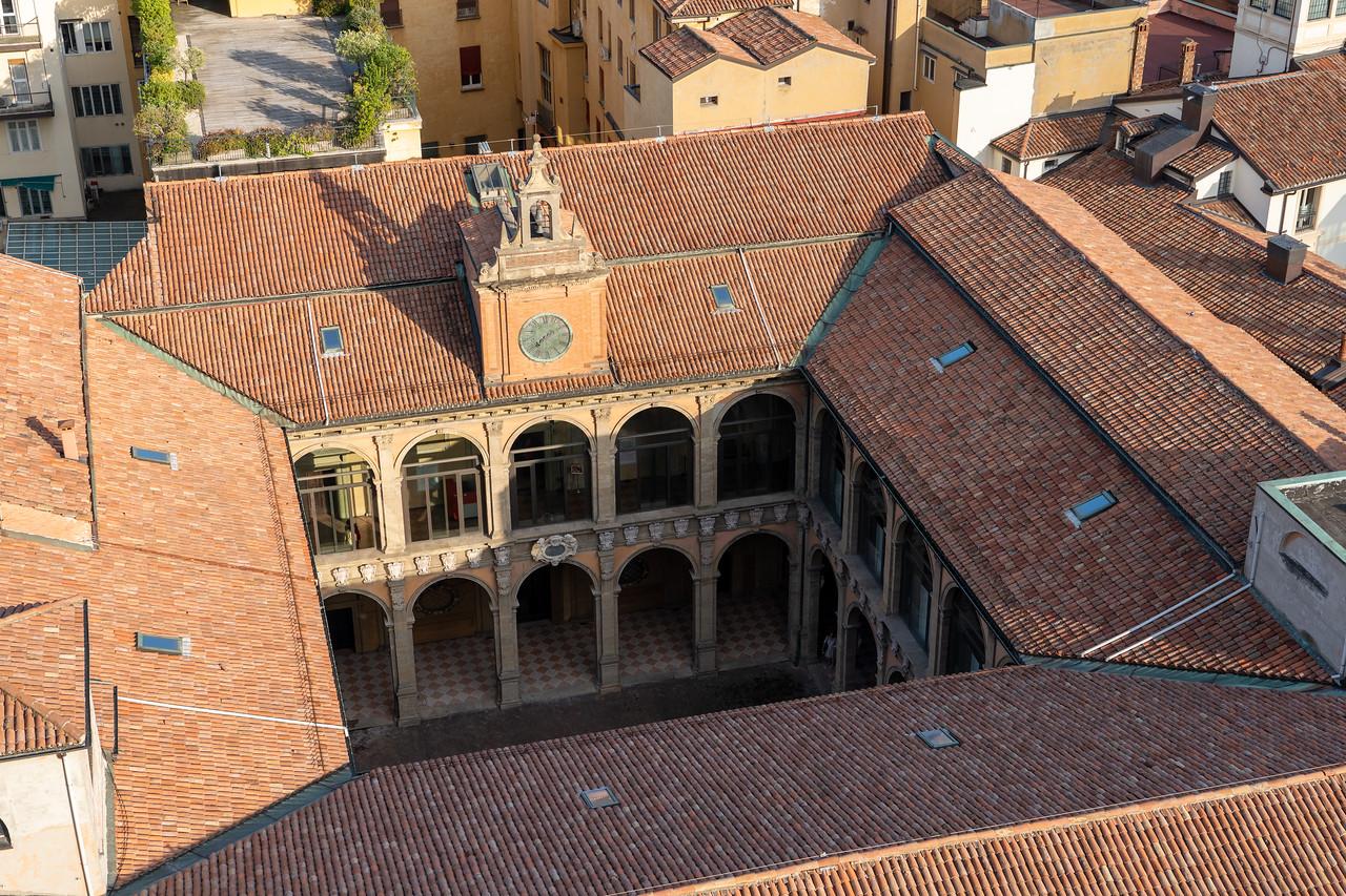 View into the Archiginnasio from the Terrazza