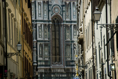Florence Cathedral windows as visible in an alley - Florence, Italy