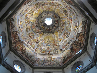View from inside the Florence Cathedral dome in Florence, Italy