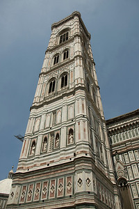 Looking up Giotto's Bell Tower in Piazza del Duomo in Florence, Italy