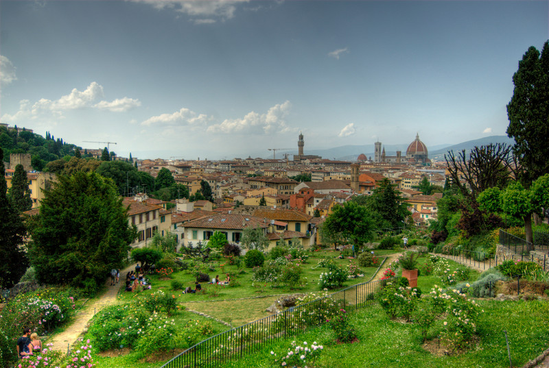 Rich flora at the garden of Piazzale Michaelangelo in Florence, Italy