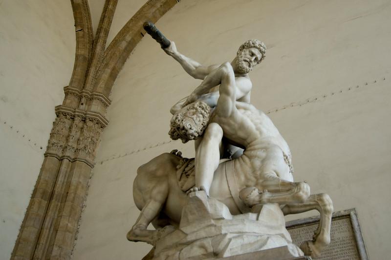 Hercules Nessus sculpture at Loggia dei Lanzi in Florence, Italy
