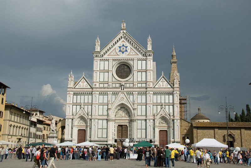 The Santa Croce Basilica facade in Florence, Italy