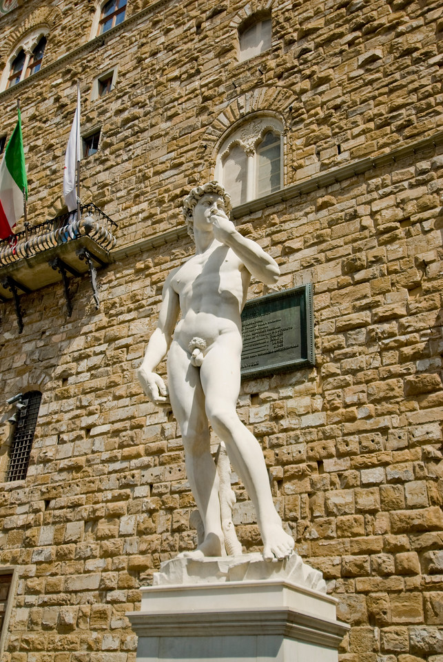 Isolated shot of the statue of David in front of Palazzo Vecchio in Florence, Italy