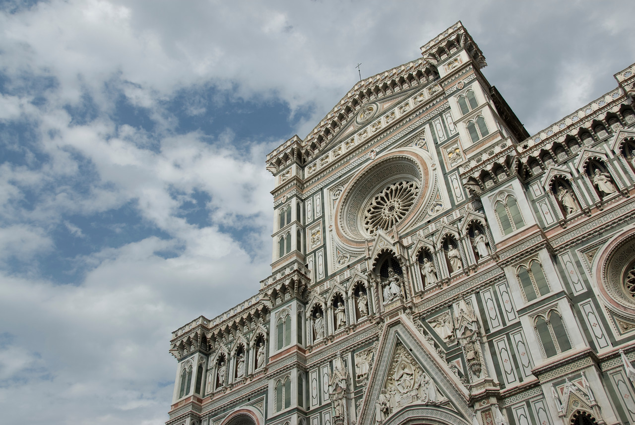 Architectural details of Florence Cathedral in Florence, Italy