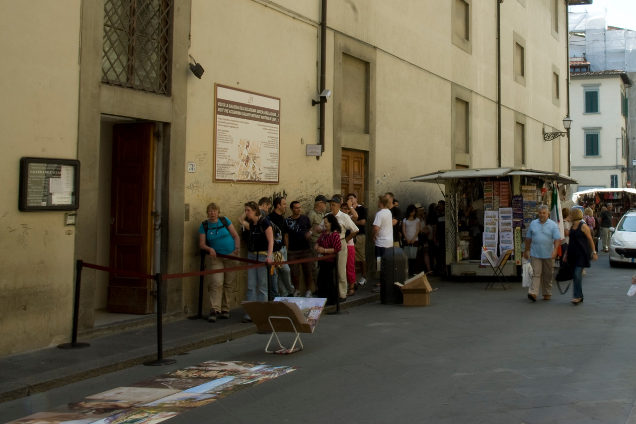 Long queue outside San Marco in Florence, Italy