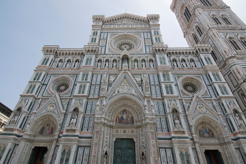 Looking up the Florence Cathedral facade in Florence, Italy