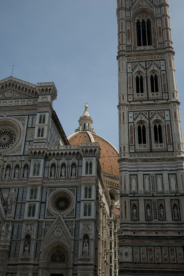The Dome peeking out from behind Giotto's bell tower and Florence Cathedral - Italy