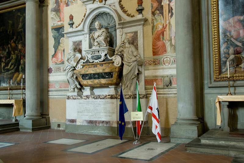 Tomb of Galileo Galilei at Santa Croce Basilica, Florence, Italy