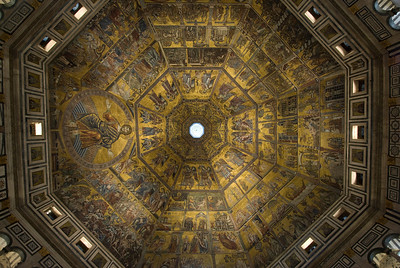 Looking up the dome of Florence Cathedral from inside - Florence, Italy