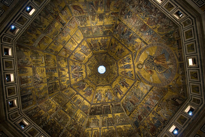 Close-up of dome and frescos inside Florence Cathedral - Florence, Italy