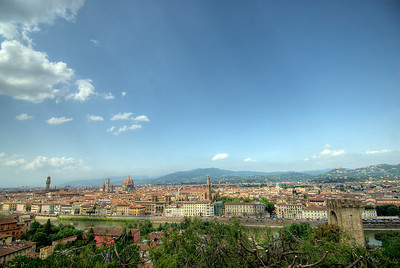 Wide shot of the city skyline in Florence, Italy