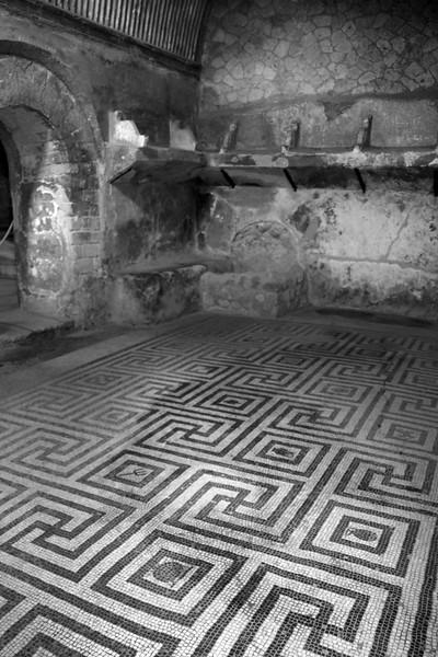 Italy, Herculaneum, Black White Mosaic Floor