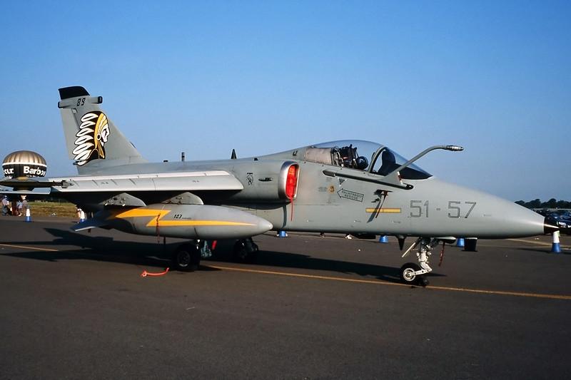 "MM7189 (51-57) Aeritalia AMX ""Italian Air Force"" c/n IX101 Fairford/EGVA/FFD 25-07-99 (35mm slide)"