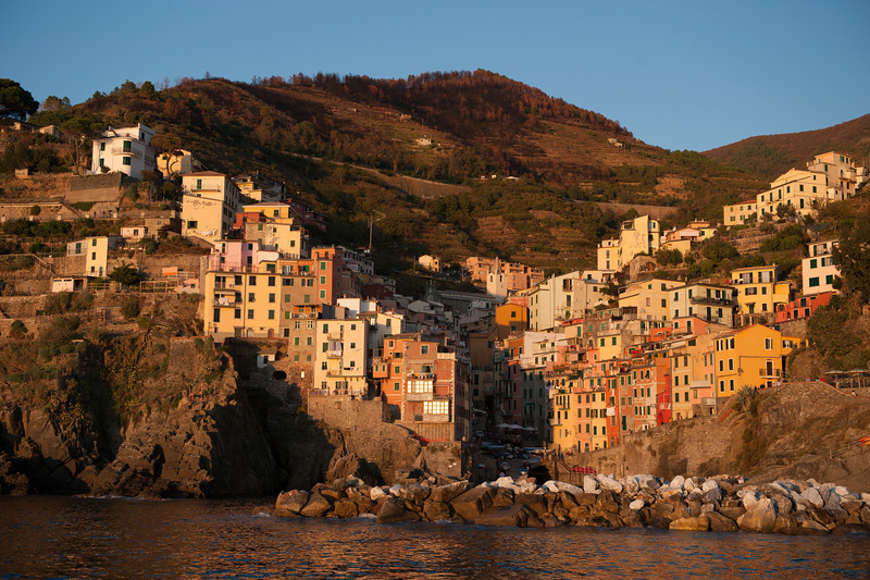 Town of Riomaggiore from a Boat