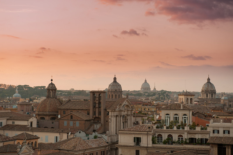 Sunset over Rome's Domes