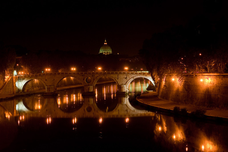 Evening View of St. Peters Dome Over the Tiber River