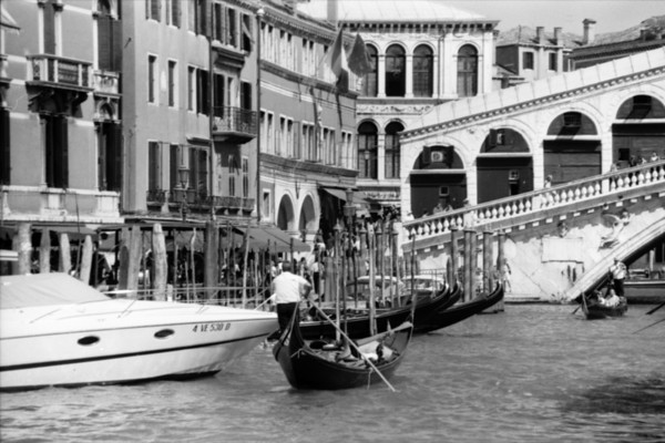 Gondoliers Before the Pause on the Grand Canal - Venice, Italy
