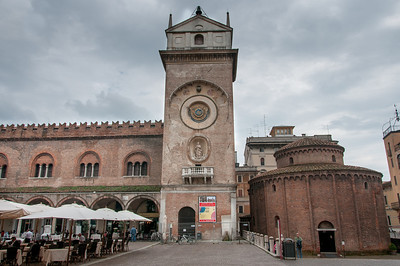 The clock tower facade in Mantova, Italy