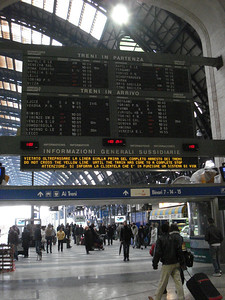 Milano Centrale train station departure and arrival board, Milan - Italy.