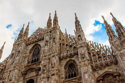 The Milan Cathedral, or Duomo di Milano, is the 4th largest cathedral in the world. Construction began in 1386 and took nearly six centuries, with the last gate completed only in January 1965. Napoleon crowned himself King of Italy here in 1805.