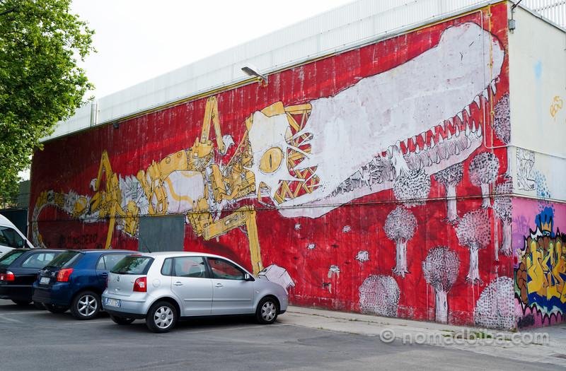 Blu's Crocodile mural in Modena