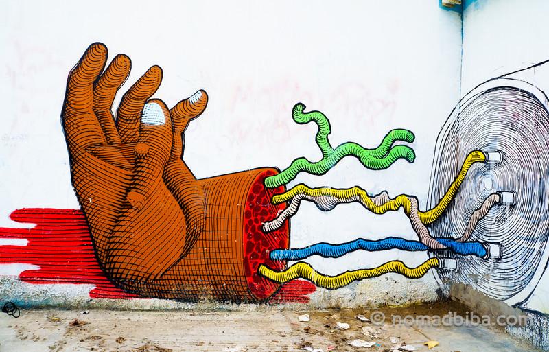 Detail of the Nunca & Blu mural in Modena