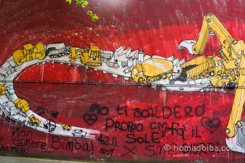 Detail of Blu's Crocodile mural in Modena