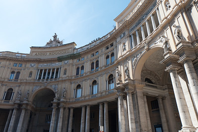 Entrance building to Galleria Umberto I in Naples, Italy