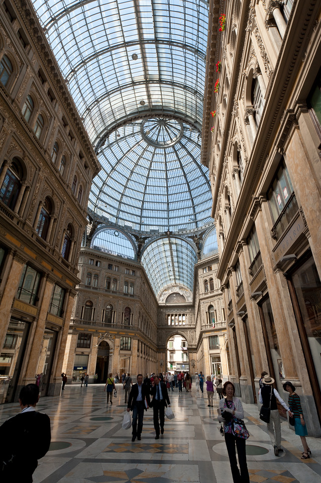 Inside the Galleria Umberto I in Naples, Italy