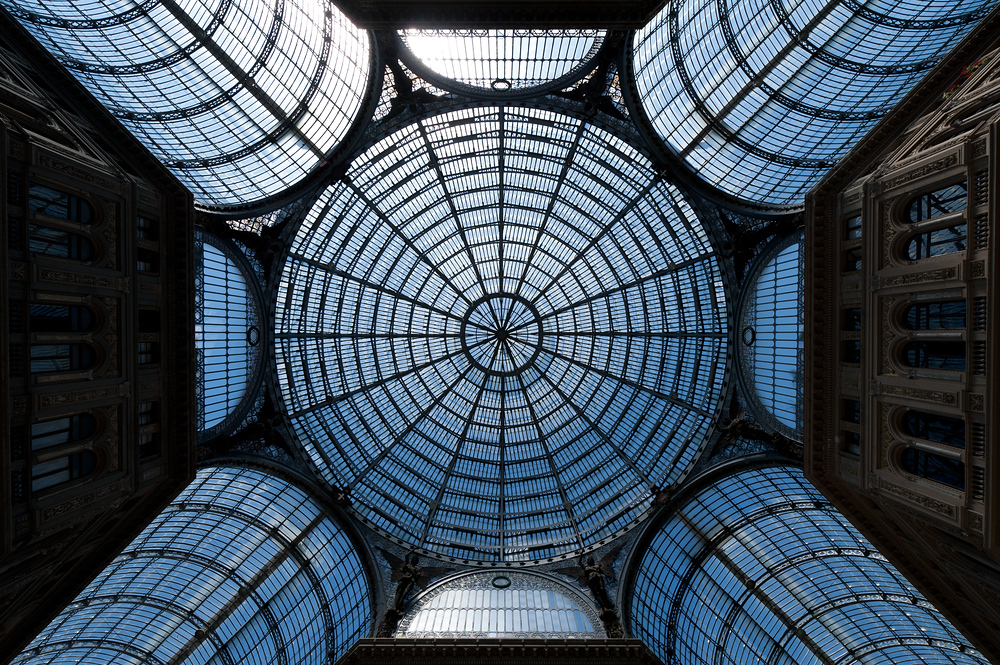 The dome of the Inside the Galleria Umberto I In Napels, Italy