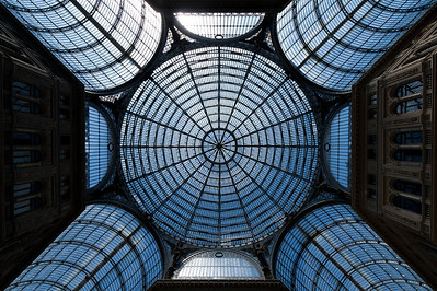 Close-up shot of the ceiling in Galleria Umberto I - Naples, Italy