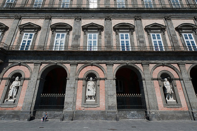 The Royal Palace of Naples facade in Naples, Italy