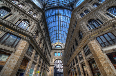 Tall hallways inside Galleria Umberto I in Naples, Italy