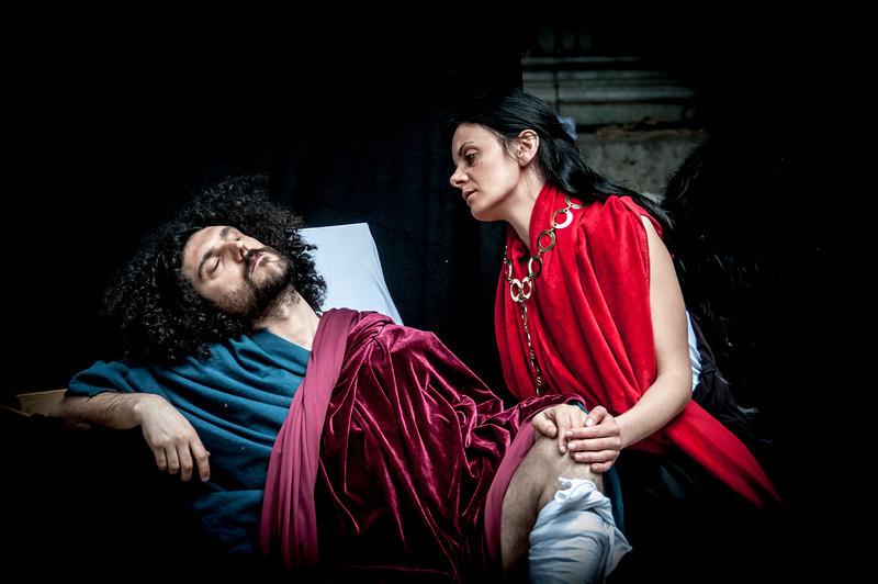Actors re-enacting play in Naples, Italy
