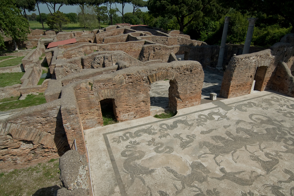 Ruins of ancient homes in Ostia Antica, Italy