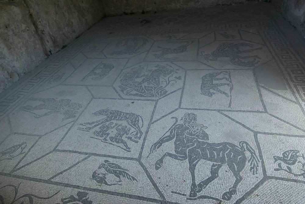 Ancient Roman floor mosaic, Ostia Antica, Italy