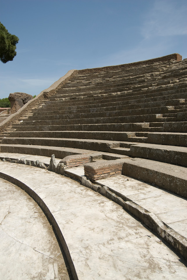 Stairs in the old theatre at Ostia Antica, Italy