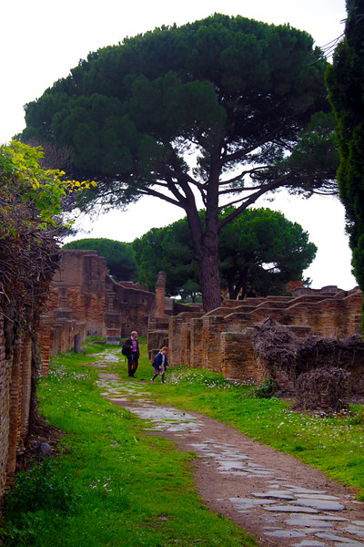 Italy, Ostia Antica, Path through Ruins