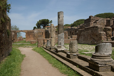 Remains of pillars in Ostia Antica, Italy